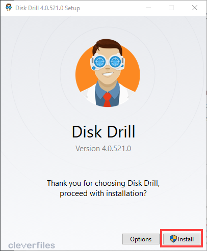windows disk drill installation