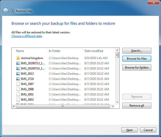 Restore files from a backup with earlier Windows versions