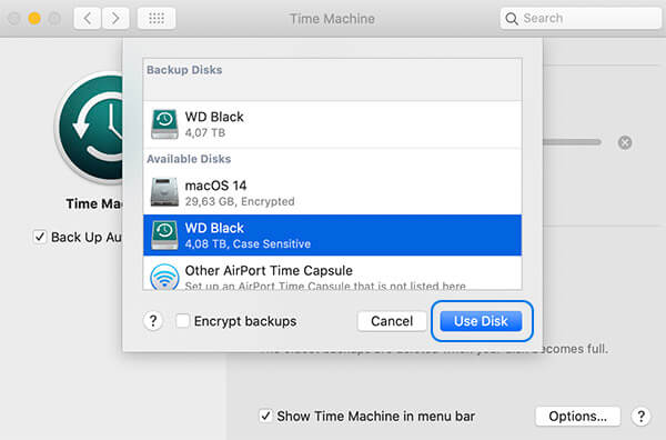 Setting up automatic Time Machine backups in macOS