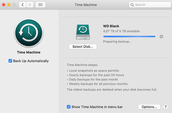 Setting up automatic Time Machine backups via macOS