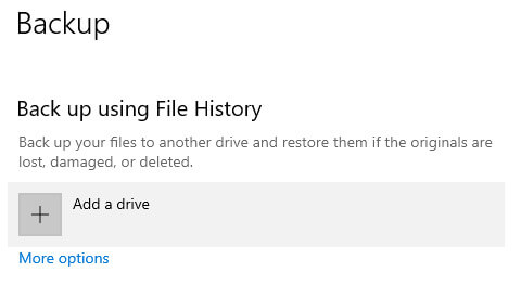 Setting up File History via Windows 10