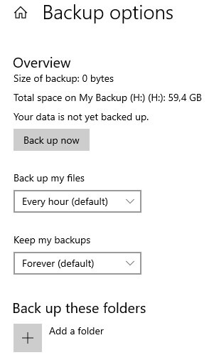 Setting up File History with Windows 10