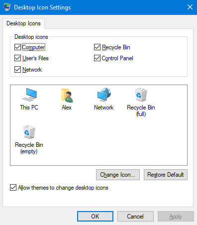 Verify the icon settings are set to display the Recycle Bin