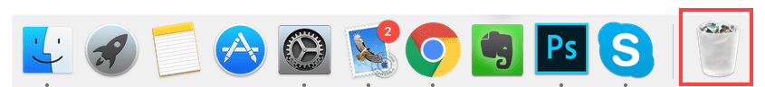 Mac dock with the Trash icon highlighted