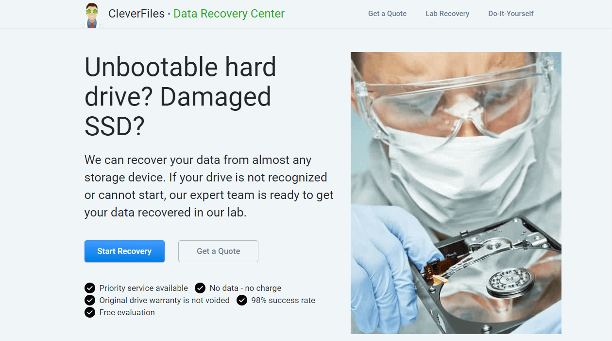 homepage of cleverfiles data recovery center