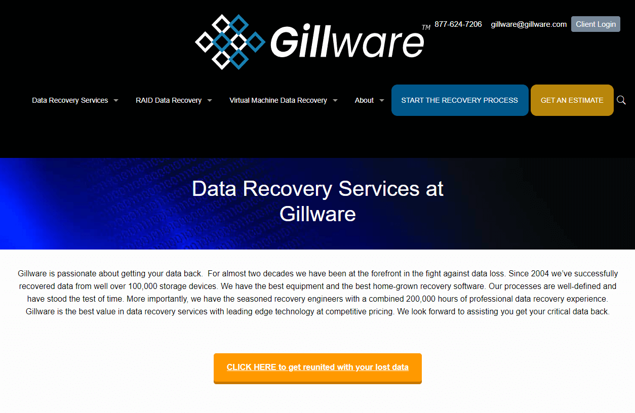 homepage of gillware data recovery center