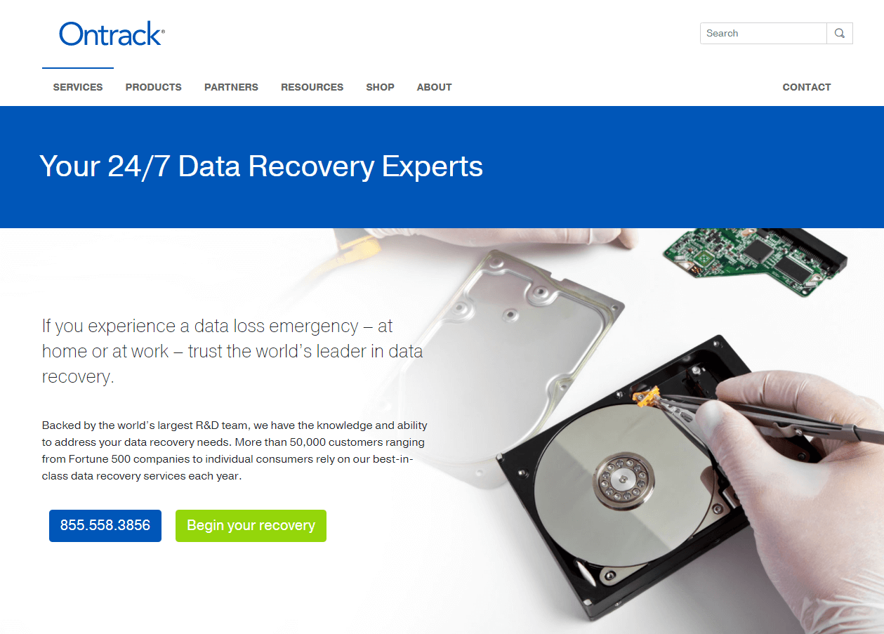 homepage of ontrack recovery