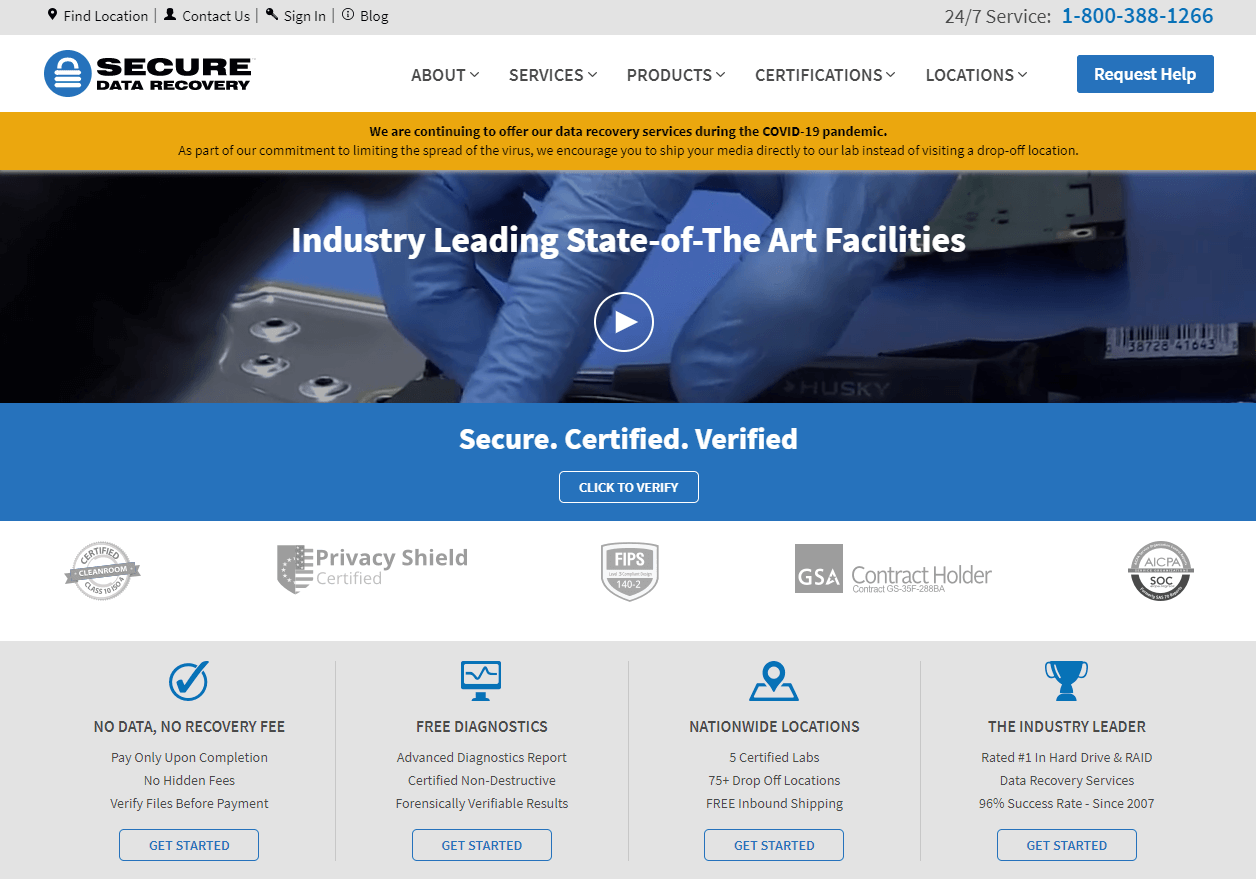 homepage of secure data recovery center