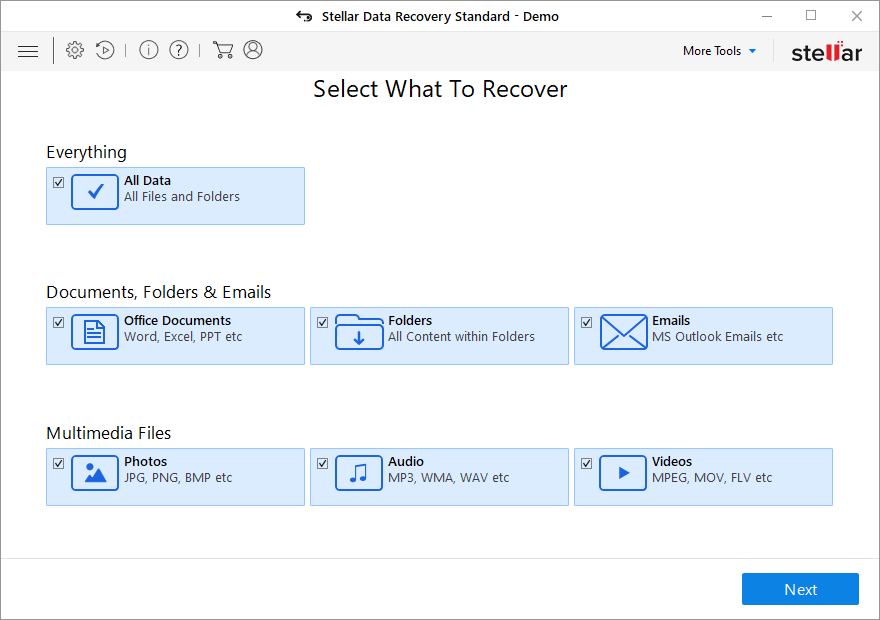 stellar data recovery file selection