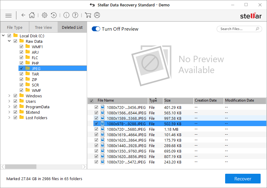 stellar data recovery preview