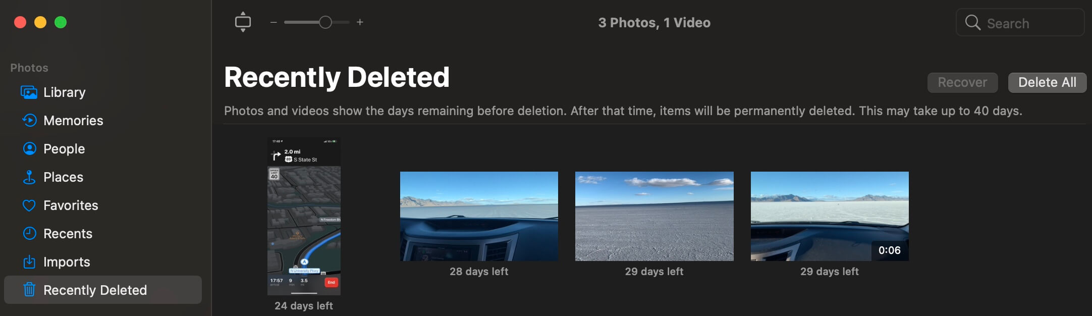 viewing recently deleted photos