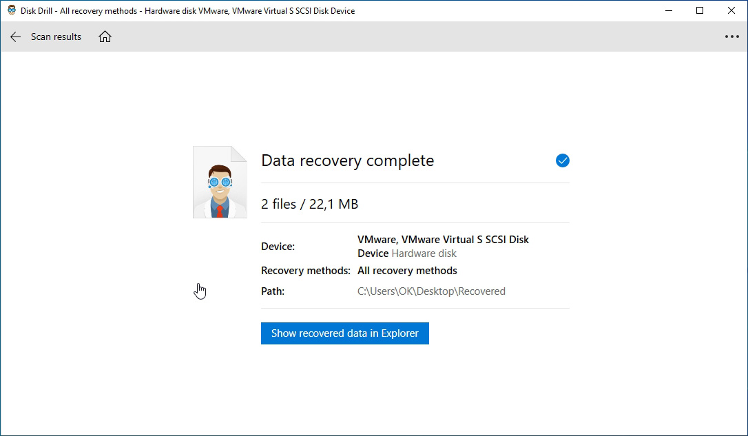 Una vez finalizado el proceso, Disk Drill puede apuntar el Explorador de Windows hacia los datos recuperados