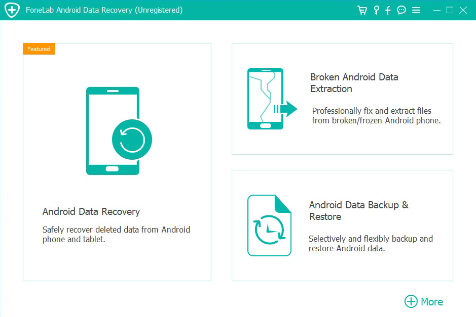 Haga clic en Recuperación de datos de Android para continuar con las opciones de recuperación reales