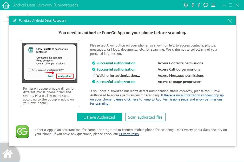 Instale el cliente de la aplicación en su teléfono inteligente y otorgue acceso a los datos que desea recuperar