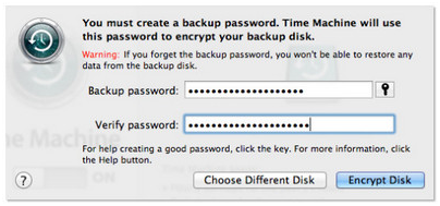 Time Machine Backup Password