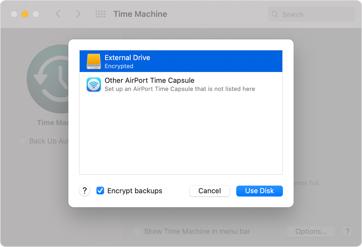 Time Machine External Drive LIst