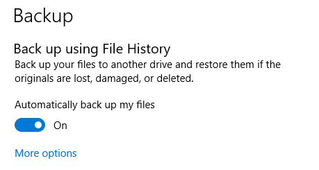 Windows Backup Enabled