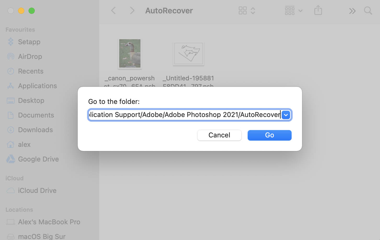 photoshop autorecover folder location in macos
