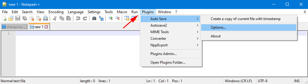 open autosave plugin options in notepad++