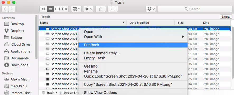 recover screenshots from trash bin mac