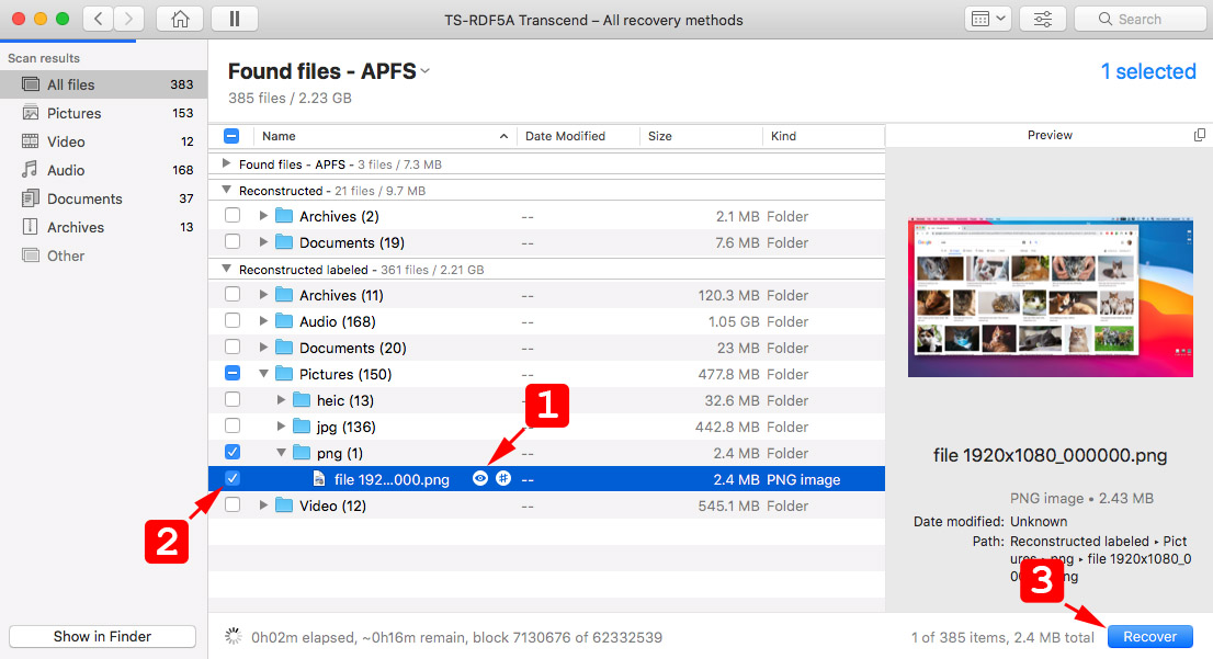 restore screenshots with disk drill