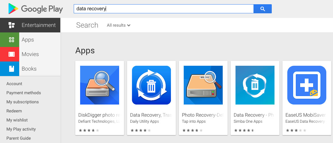 Download App From Google Play For SD Card Photo Recovery