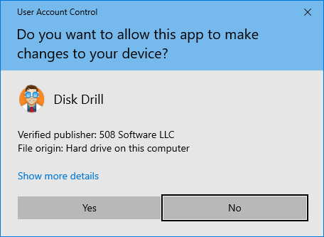 Disk Drill user account control prompt